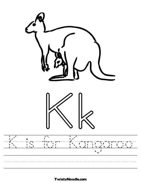 K is for Kangaroo Worksheet from TwistyNoodle