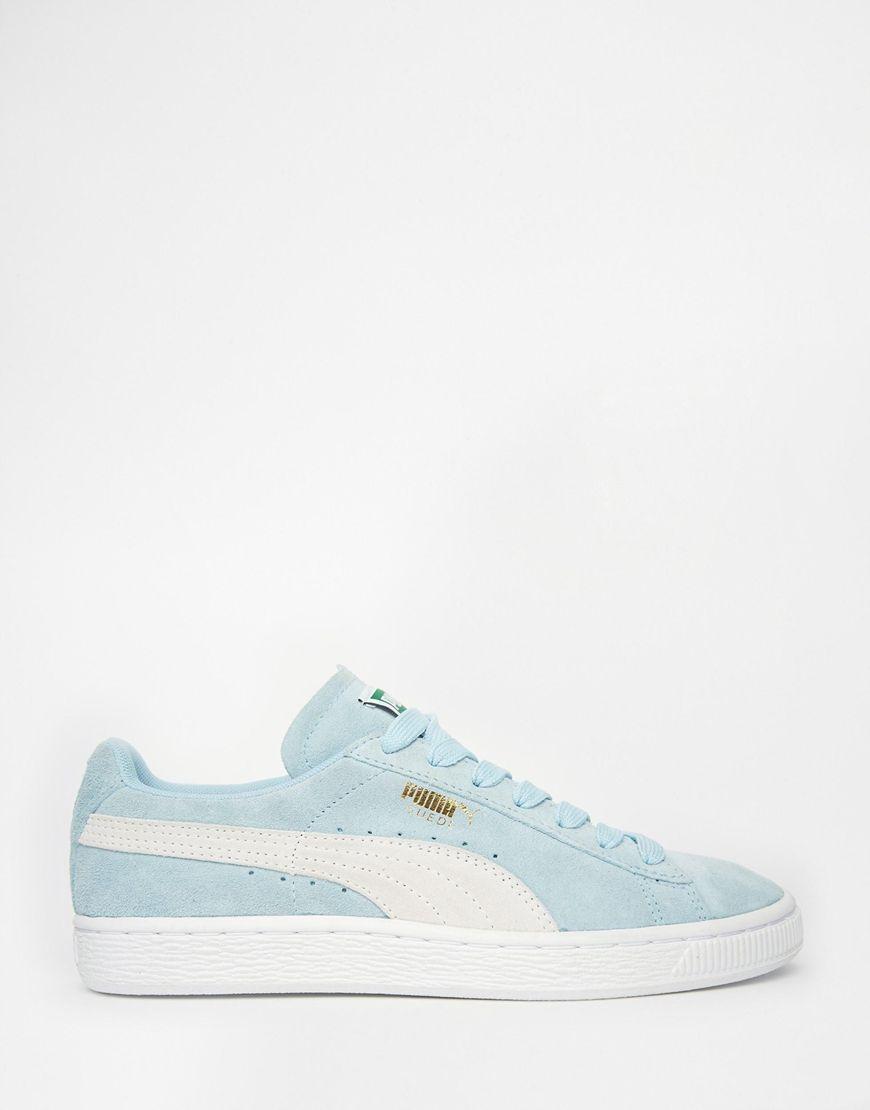 puma pale blue suede basket sneakers