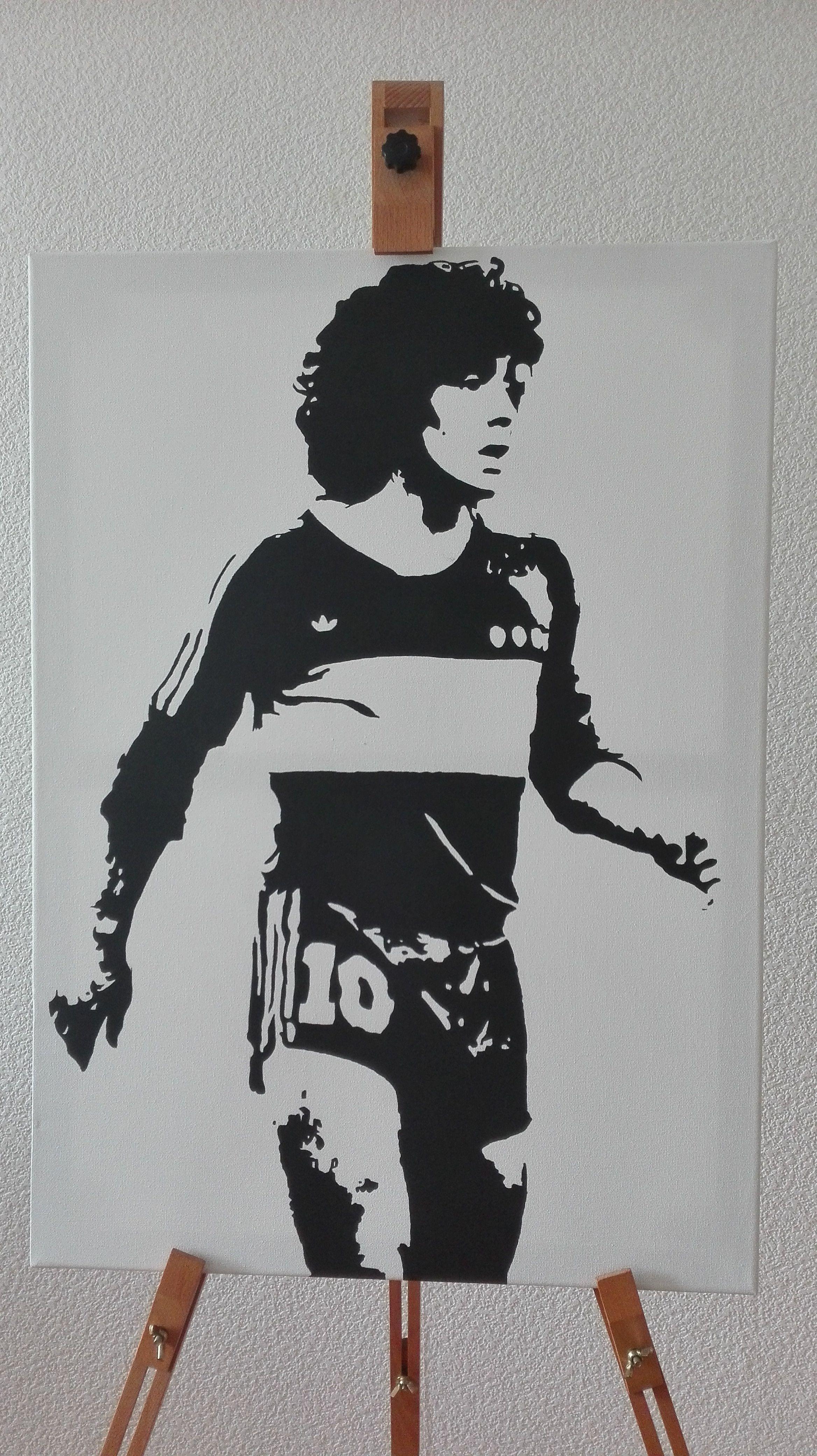 0c1cb11291bee Diego Armando Maradona - Boca Juniors (Acrylic Painting 70 50 ...