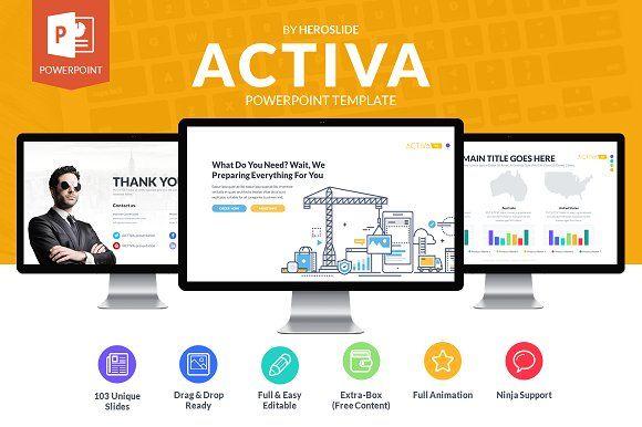 Activa Business Powerpoint Template by HeroSlide on @creativemarket