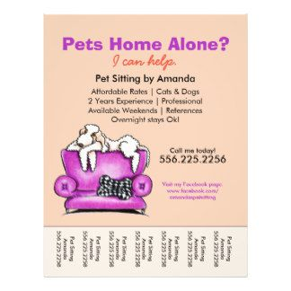 Pet Sitter Ad White Dog Mod Couch Tear Sheet Personalized Flyer ...