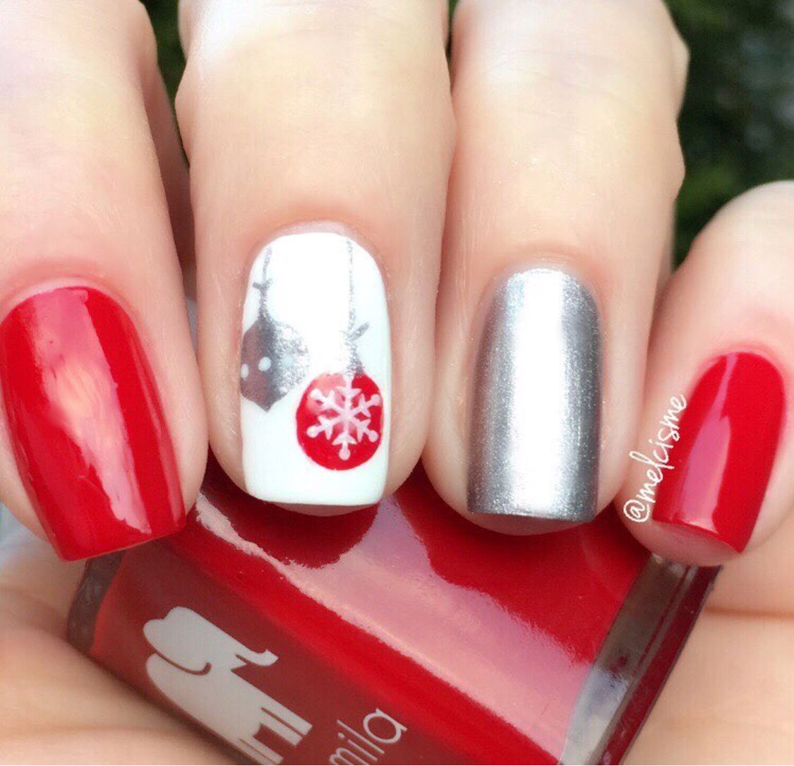 Getting into the holiday spirit with melcismes fabulous red getting into the holiday spirit with melcismes fabulous red white and silver manicure using prinsesfo Gallery