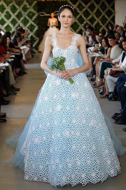 Oscar De La Renta Blue Wedding Dress Spring 2013