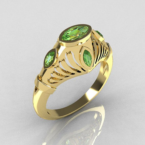 Greco Roman Classic 18K Yellow Gold Marquise Green by artmasters, $1099.00
