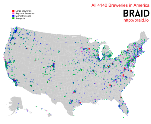 Map of all the breweries in AmericaInteractive map The Power
