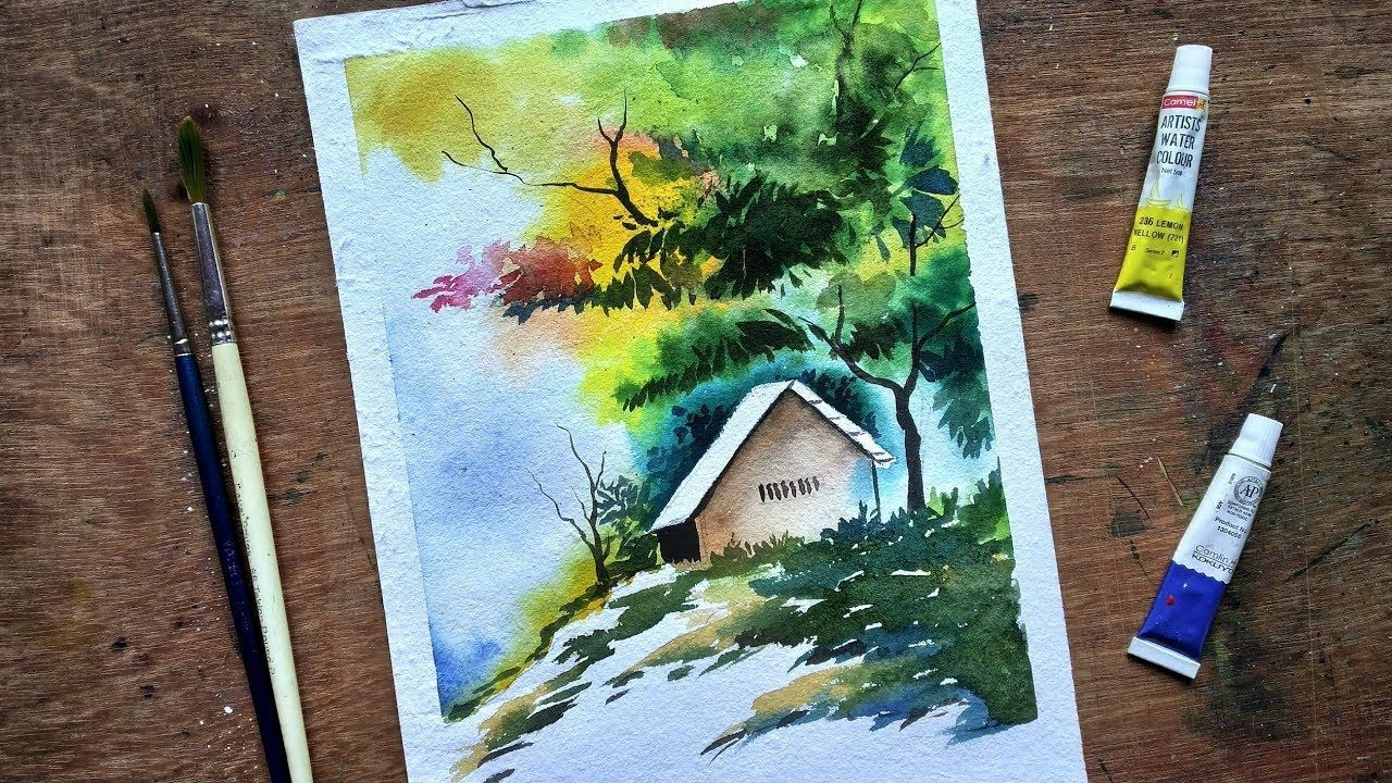 Beginners Watercolor How To Draw A House Landscape Paint With