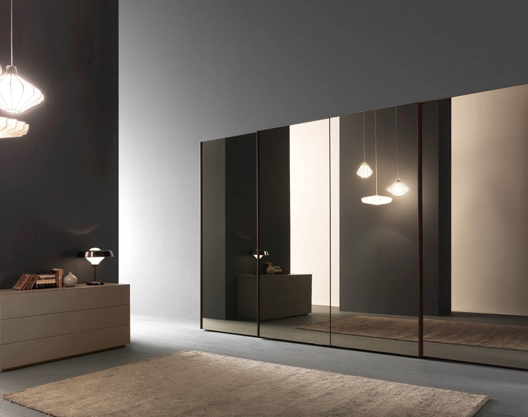 Presotto #wardrobe with glass sliding doors bronze mirror panels