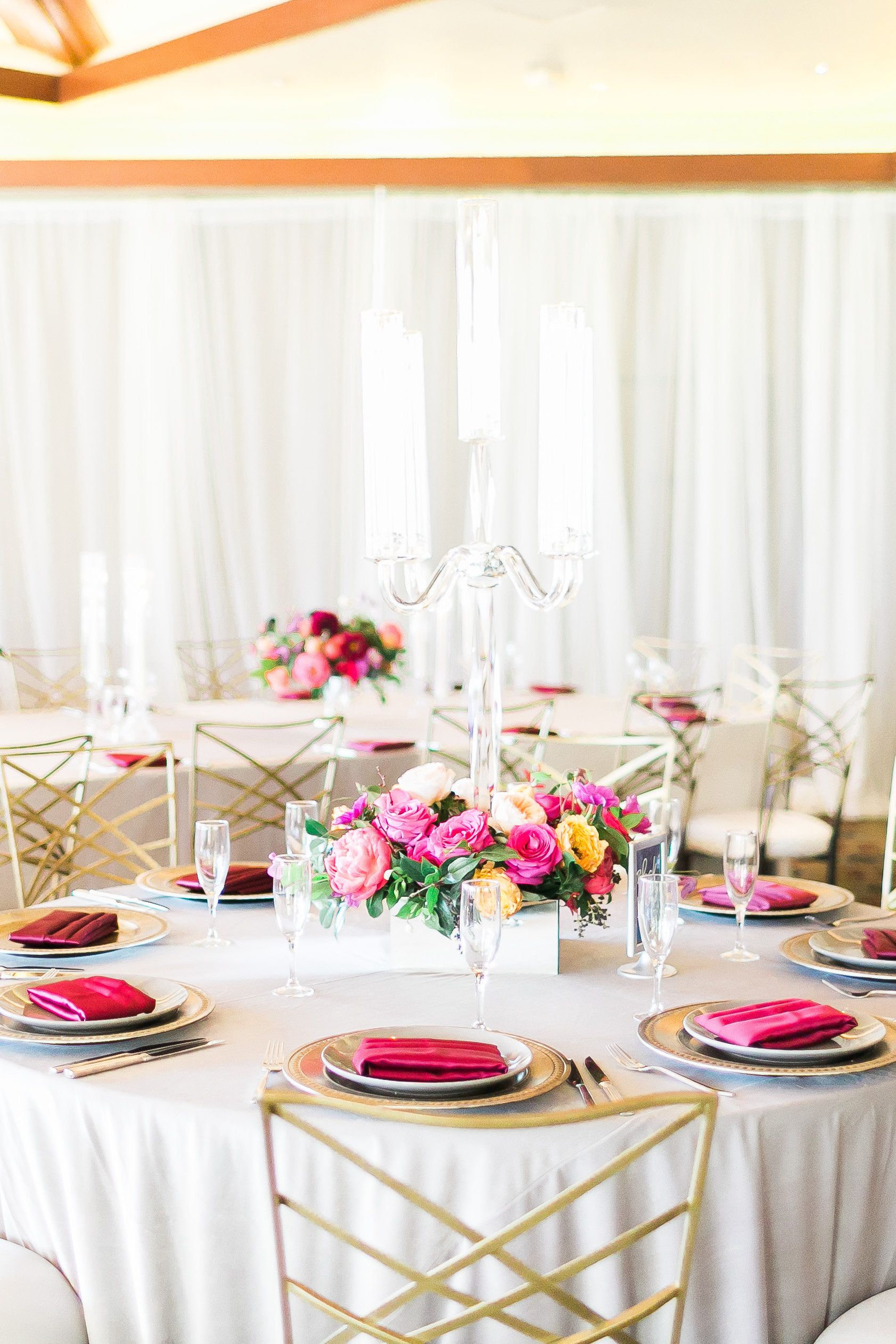 Candelabra centerpiece in a base of florals by Layers of Lovely at ...