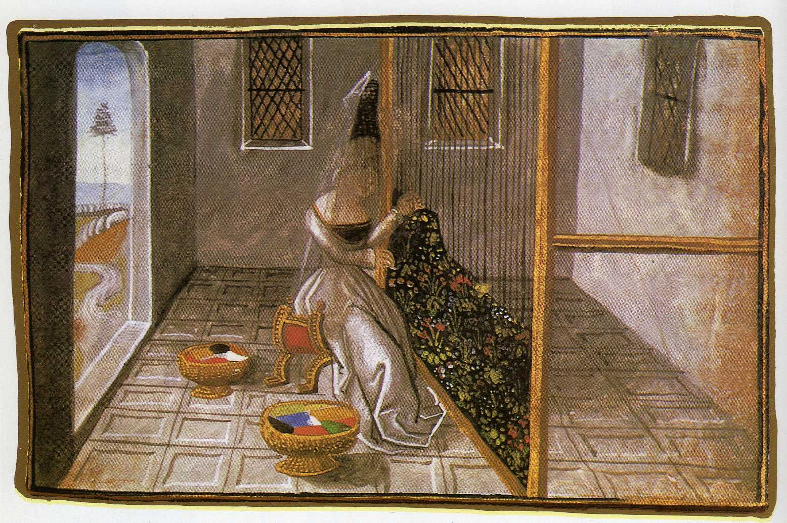 """Le tissage de la tapisserie -- """"Die Lof der Vrouwen"""" a Dutch version of the """"Cité des Dames"""" of Christine de Pisan, written in 1475 at the desire of """"Jan de Baenst Riddere Heere van Sint Joris."""" Vellum; with coarsely executed miniatures and illuminated initials, some of which are unfinished, or the spaces for them left blank. -- British Library, Add MS 20698"""