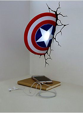 """Avengers Assemble! Keep your little one's room safe from evil doers with this Captain America shield night light! It mounts to the wall and comes with a crack sticker, so it looks like Cap threw it right into the wall.<div><ul><li style=""""list-style-position: inside !important; list-style-type: disc !important"""">Approx. 9""""</li><li style=""""list-style-position: inside !important; list-style-type: disc !important"""">3 AAA Batteries required (not included)</li><li style=""""list-style-position: inside…"""