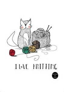 Love cats and knit illustration | gatitos :) | Pinterest