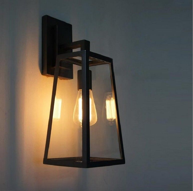 retro lighting. vintage industrial glass cage wall lamp shade outdoor retro lighting sconce 5