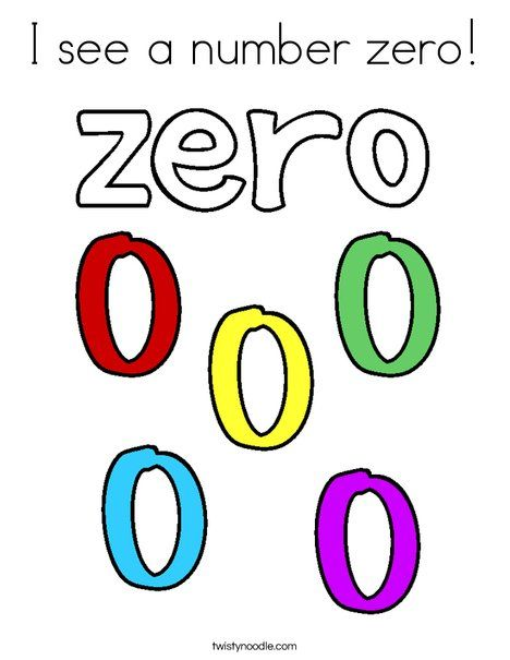 I See A Number Zero Coloring Page Twisty Noodle Teaching Numbers Coloring Pages Preschool Activity
