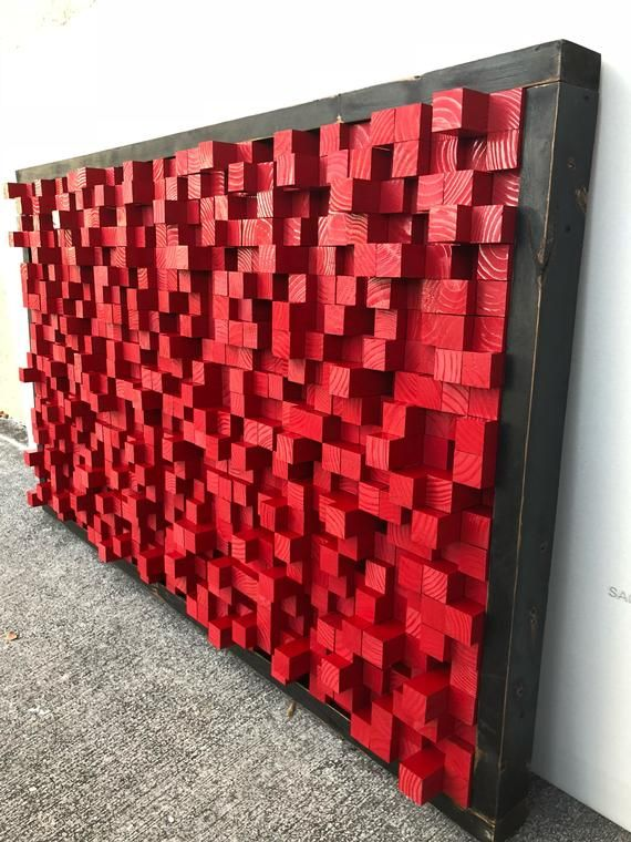 Reclaimed Wood Sound Diffuser Acoustic Panel Red Wall Hanging Etsy Acoustic Panels Wood Wall Decor Red Walls
