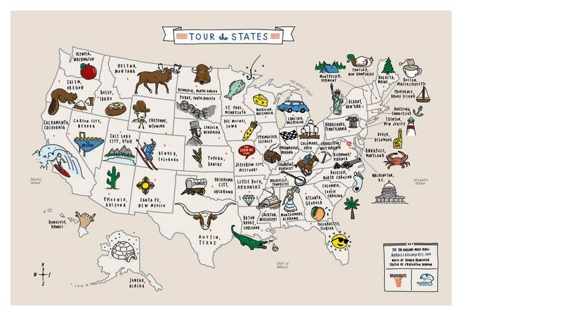 Brain Marbles Us Map Tour of the States Poster | Marbles: the Brain Store | State