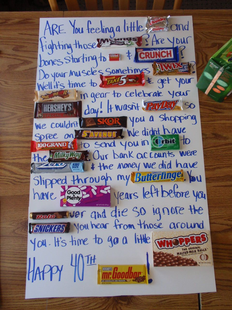 candy bar poem for co workers 40th bday diy projects