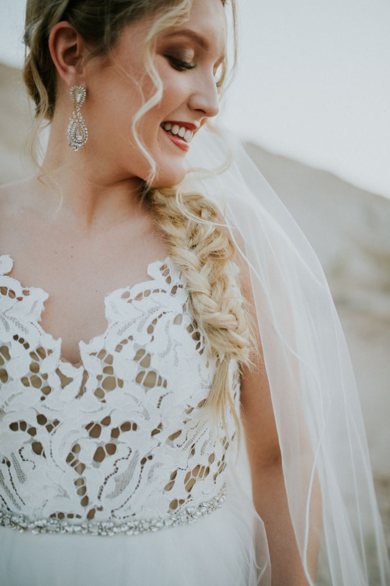 Gorgeous Side Braid And Bold Earrings For This Bride Wedding