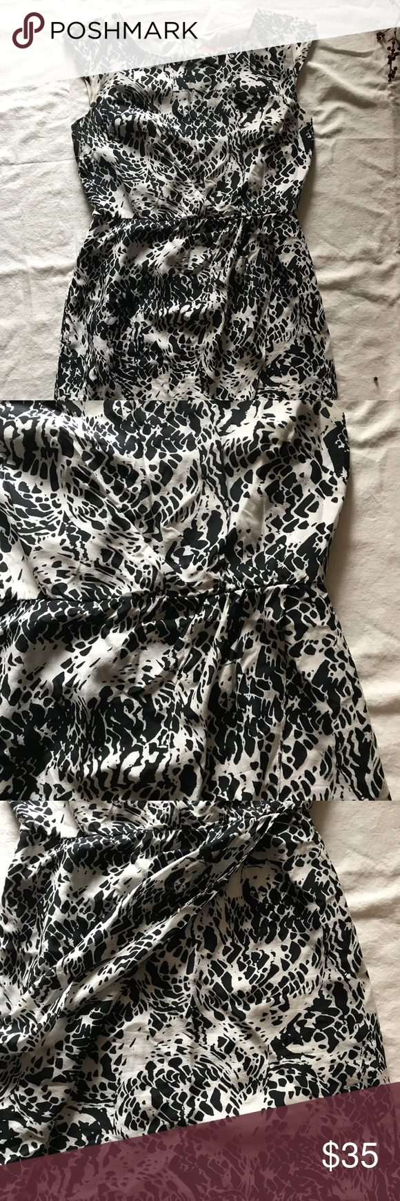 Cynthia Steffens silk Black and white dress Cynthia Cynthia Steffens little faux wrap dress. Scoop neck back split. Size 2 Cynthia Steffe Dresses