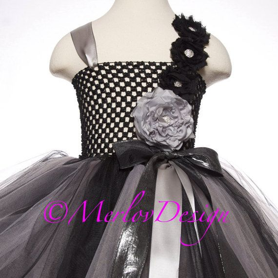 d19b3f188 Flower Girl Tutu Dress Silver and Black with Handmade Flowers, Special  Occasion, Birthday, Photos, Holidays, Empire Waist