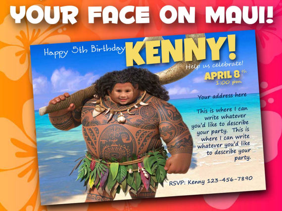 Moana Birthday Invitation Maui Printable