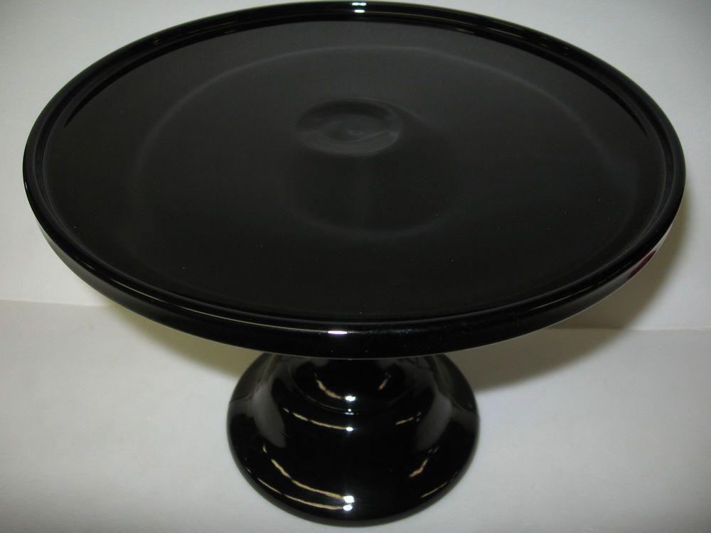 Black amethyst glass cake serving stand plate platter