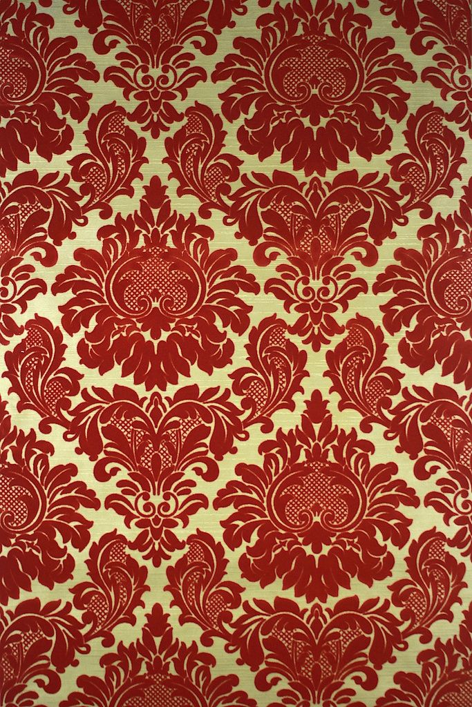 Red Flocked On Gold Vintage Wallpaper Victorian Wallpaper Vintage Wallpaper Damask Wallpaper Red black white gold wallpaper