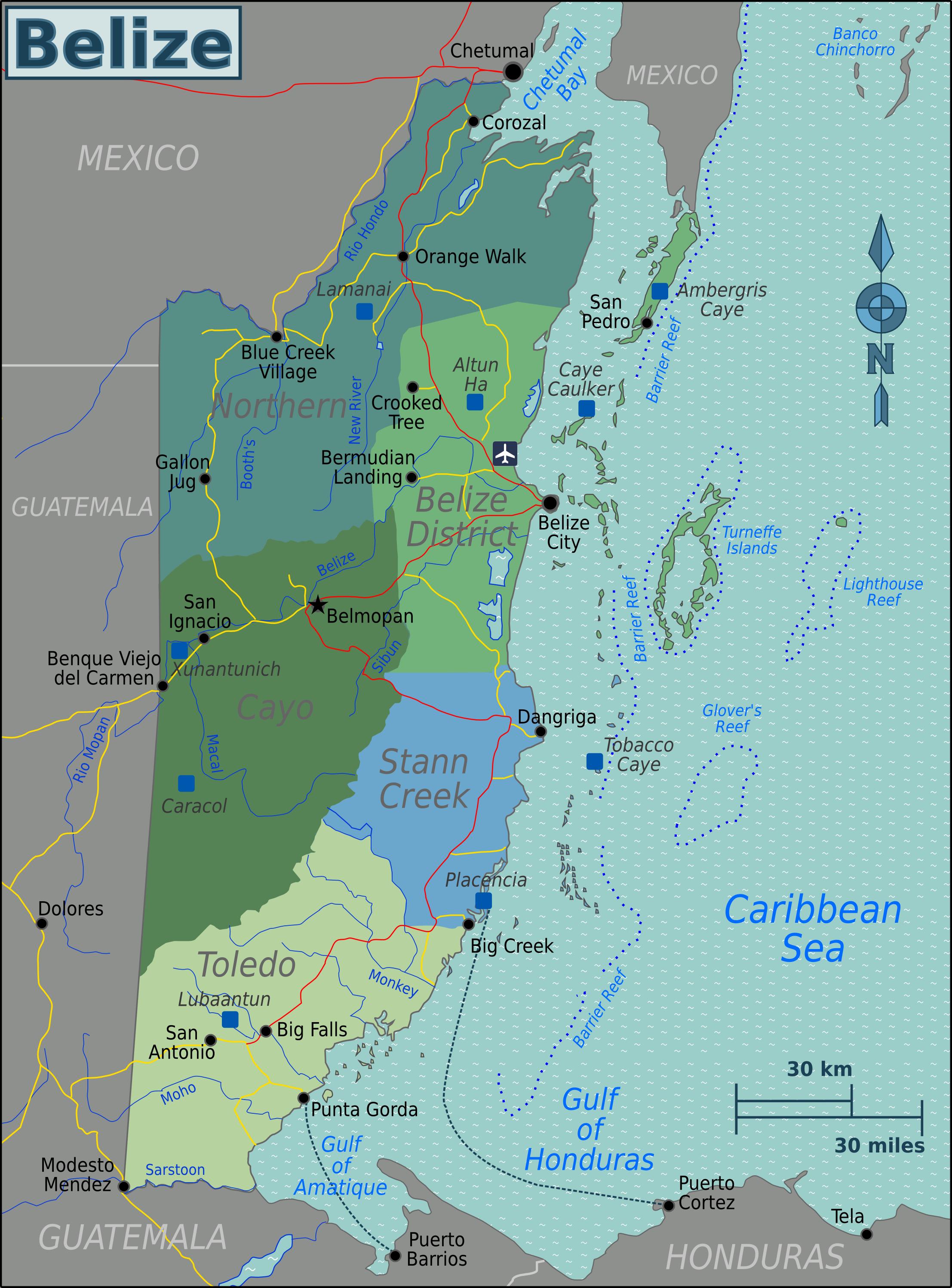 Regional map of Belize | Maps in 2018 | Pinterest | Belize travel ...