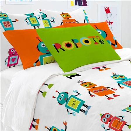 Little W Robots Single Duvet Cover Set