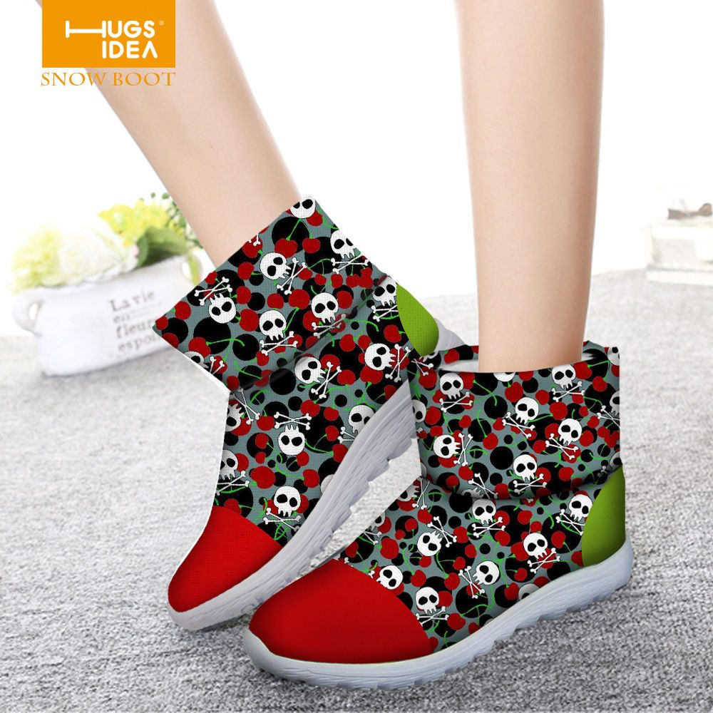 Trendy Skull Women's Boots Ladies Non-slip Winter Waterproof Snow Boot Shoes #FORUDESIGNS #AnkleBoots #Casual