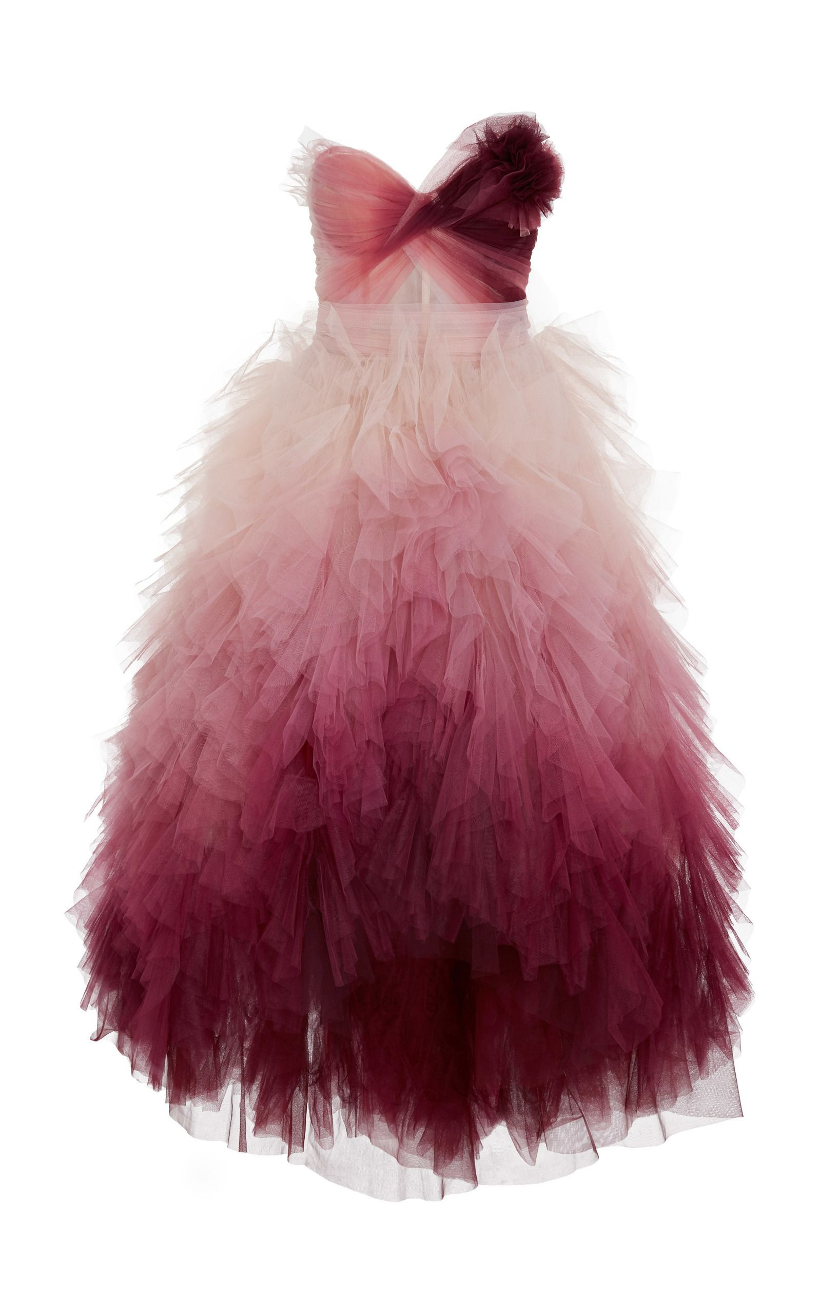 Strapless Ombre High Low Dress by MARCHESA for Preorder on Moda ...