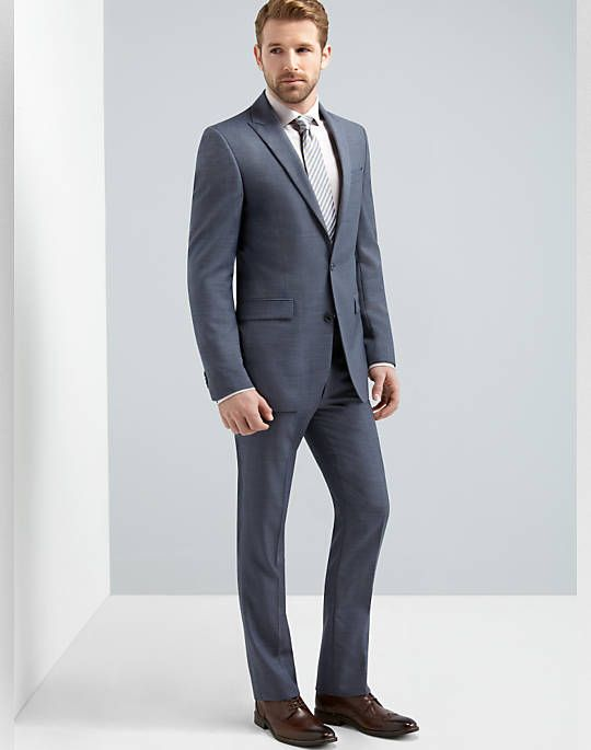 Buy a Kenneth Cole Blue Sharkskin Slim Fit Suit and other Slim Fit ...