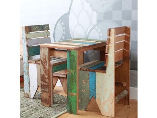 Stoere sloophout set bestaande uit sloophout kinderstoel en tafeltje | Online bestellen | Klein & Stoer webshop