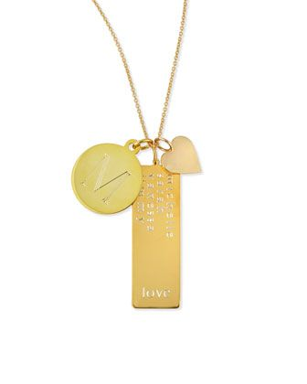 90b71d7c971ed 14k Gold Plated Cari 3-Pendant Necklace with Initial