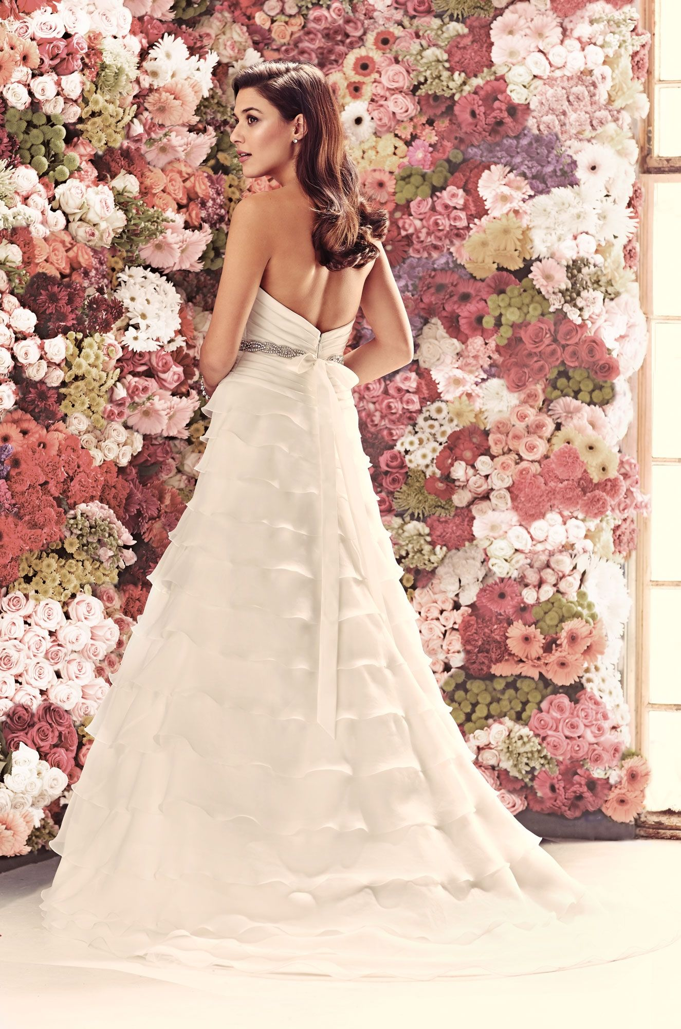 Mikaella soft satin and organdy wedding dress back view strapless