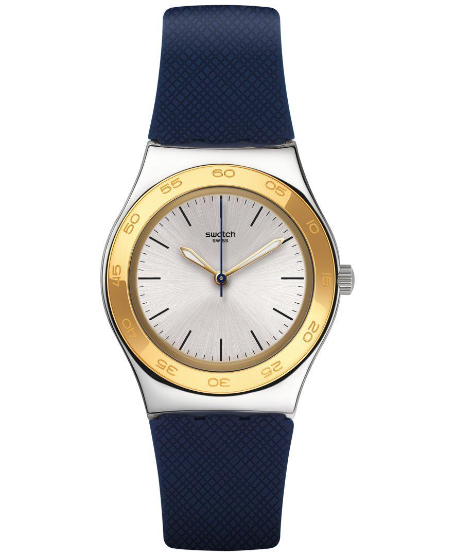 19af7b9bac71 Swatch Unisex Swiss Blue Push Blue Silicone Strap Watch 33mm YLS191 ...