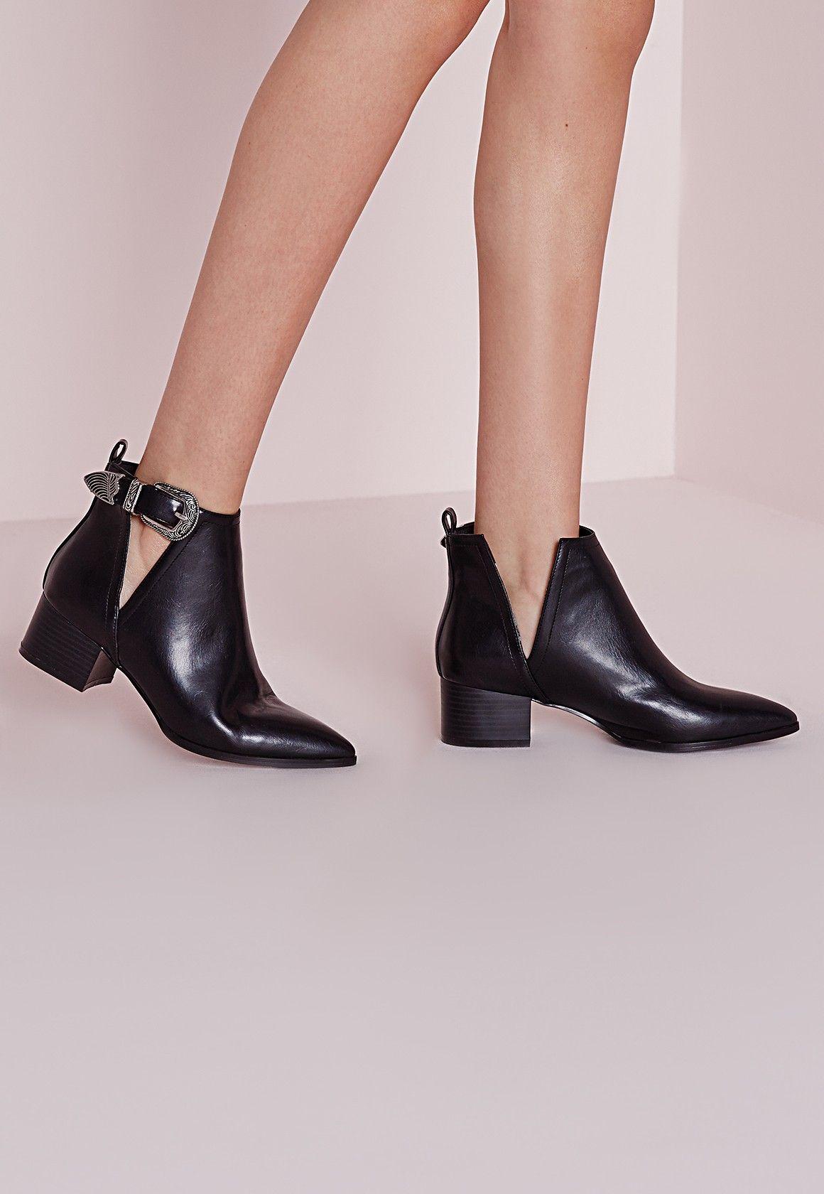 missguided - bottines noires pointues | pieces look | pinterest