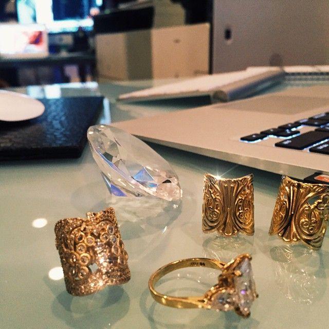 Gold Rings Diamond Fashion Jewellery Accessories LaceByTanaya CrystalLaceCuffs LaceCuffs