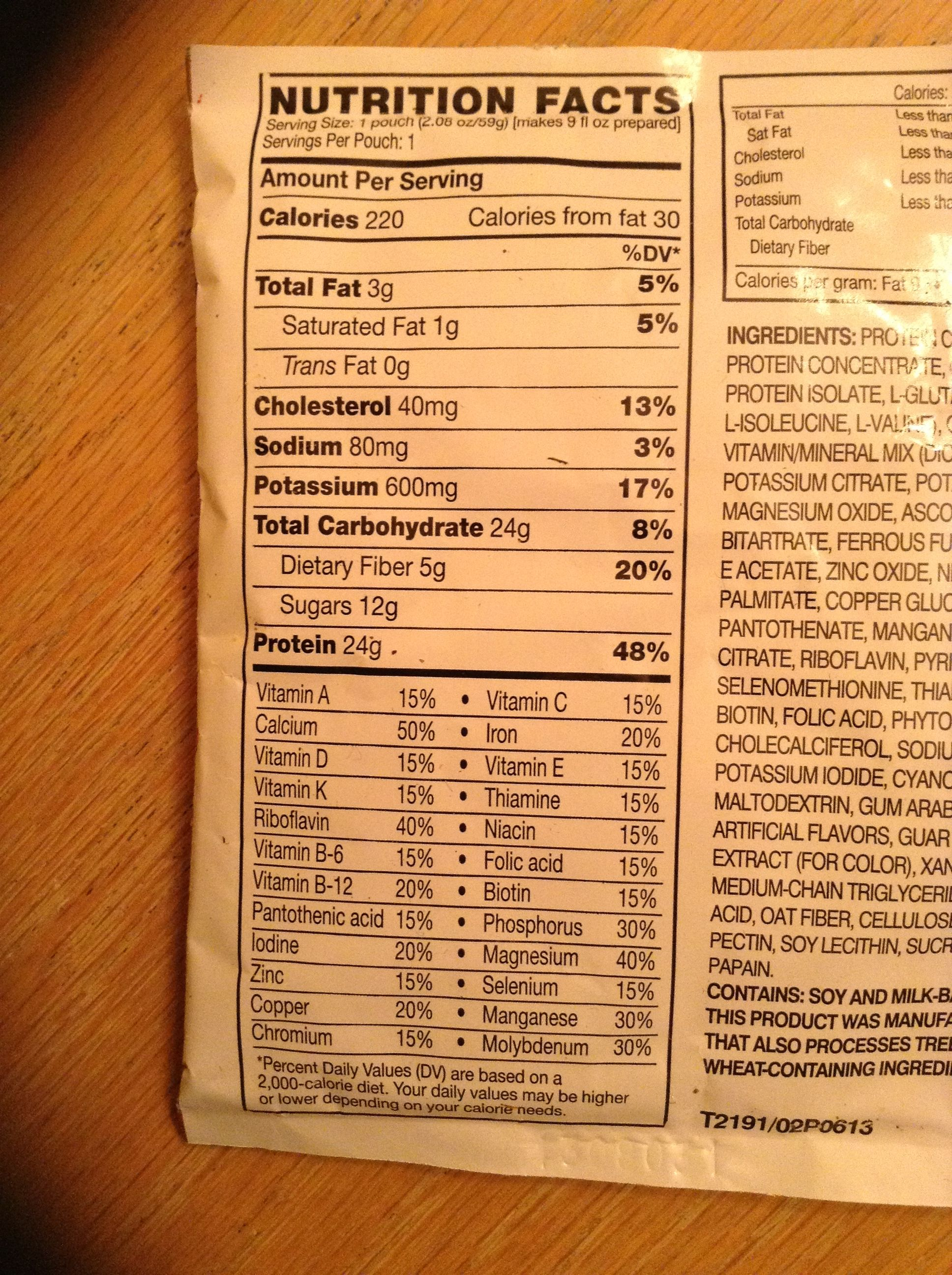 Nutrition Facts for Meal Replacement Shake.