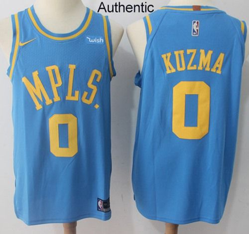 64d6b5f7b582 Nike Lakers  0 Kyle Kuzma Royal Blue NBA Authentic Hardwood Classics Jersey