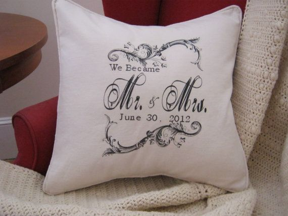 Personalized We Became Mr and Mrs Pillow by nanaandmecreations, $30.00