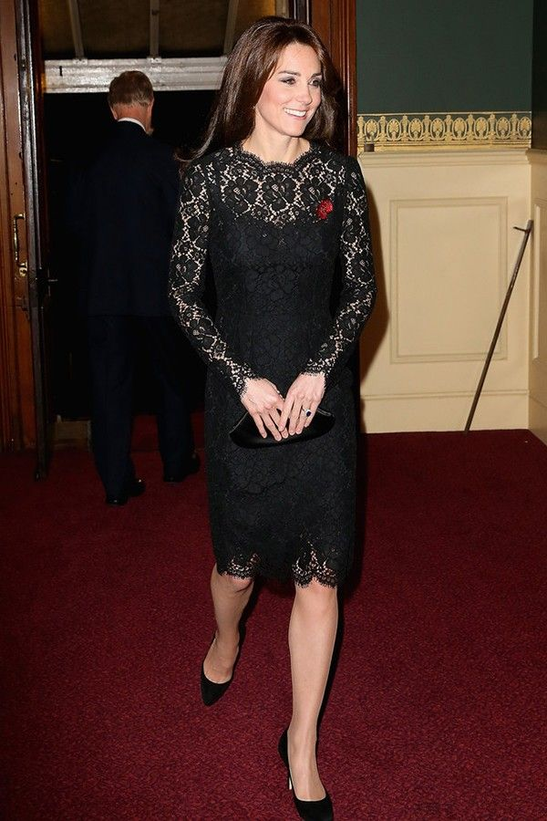 87fbd5df183e Kate Middleton Black Lace Cocktail Dress at Festival of Remembrance -  TheCelebrityDresses