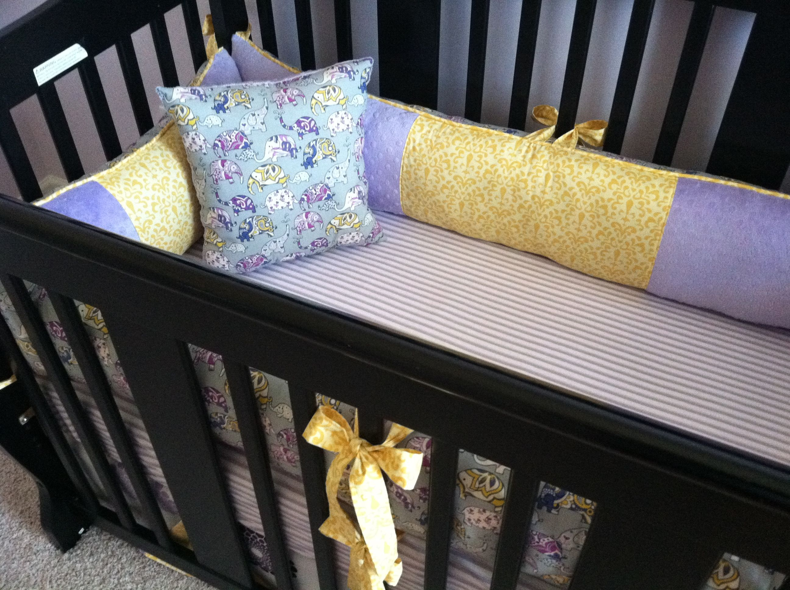 Purple elephant crib bedding custom made by Posh Petites Boutique. https://www.facebook.com/poshpetitesboutique lmb0828@hotmail.com