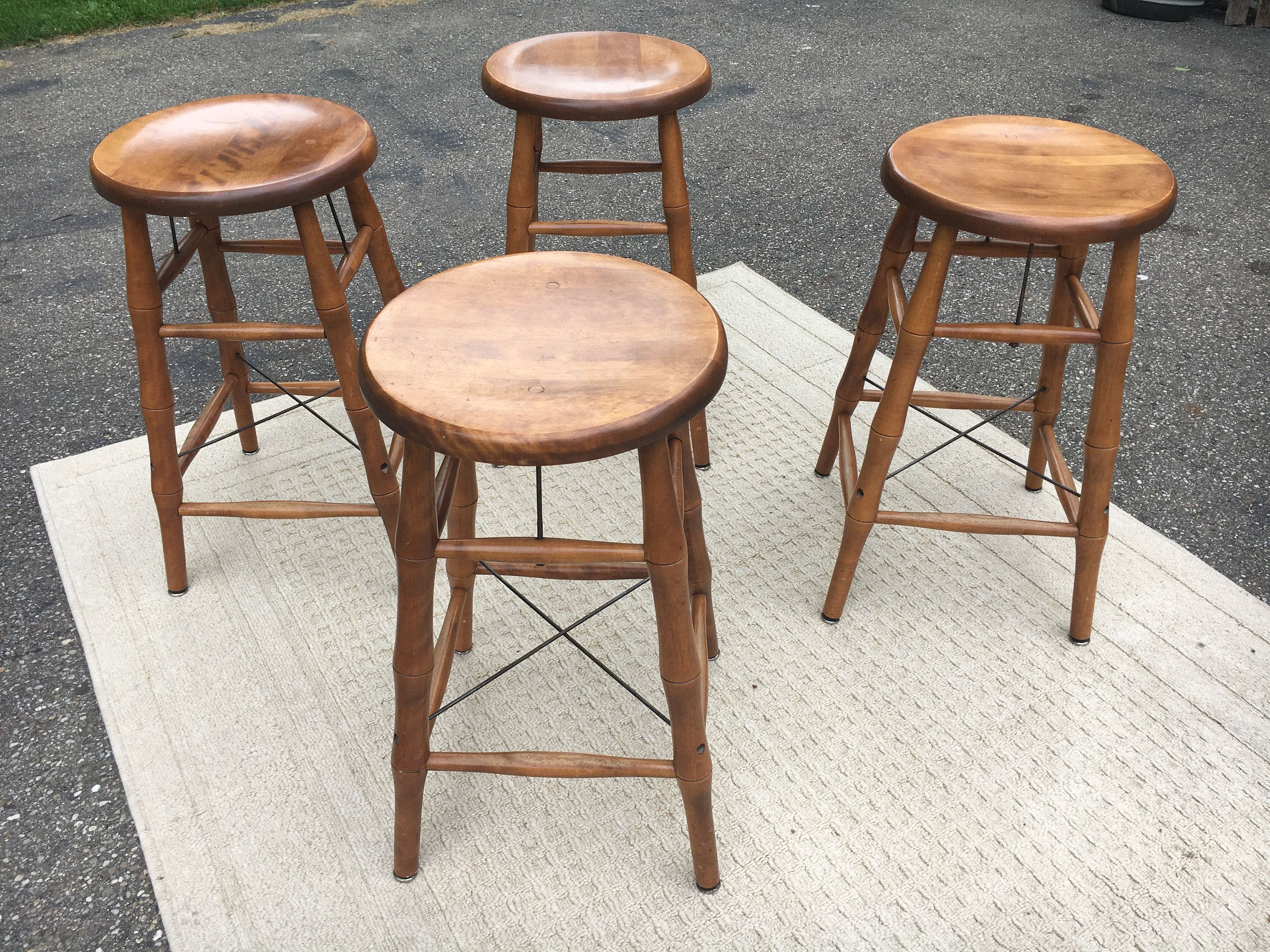Vintage Maple Bar Stools 4 Bent Bros Stools Bamboo Style Etsy Bar Stools Maple Wood Furniture Wood Decor