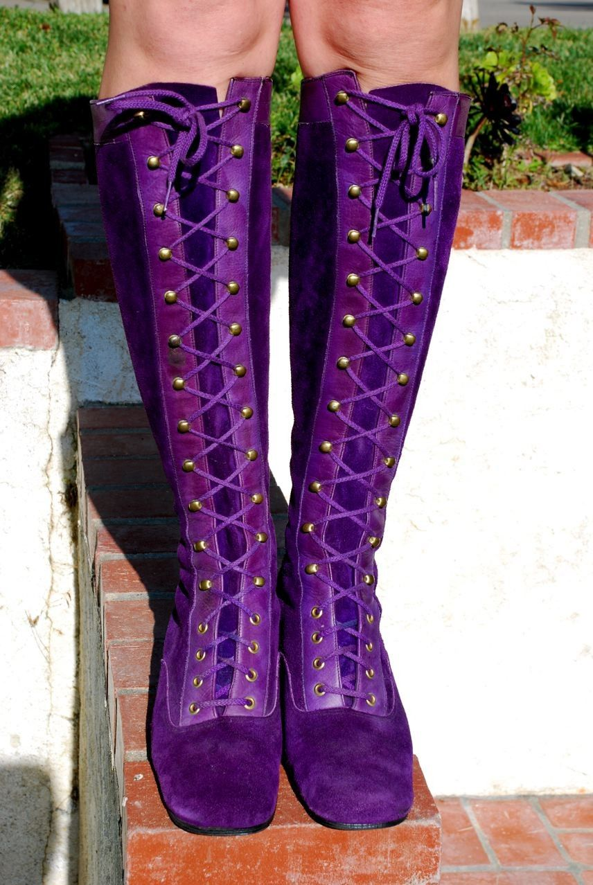 lace up boots womens purple suede boots
