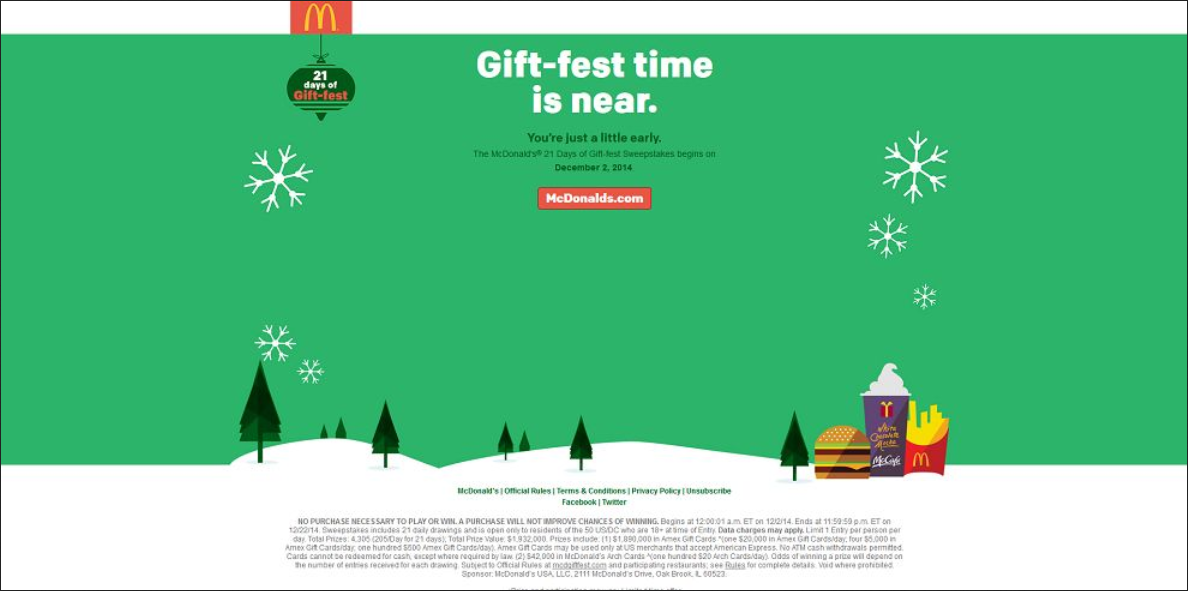 ezsweepstakes mcdonalds giftfest is here enter once a day tuesday 02 december 2014 - Mcdonalds Open Christmas Day 2014