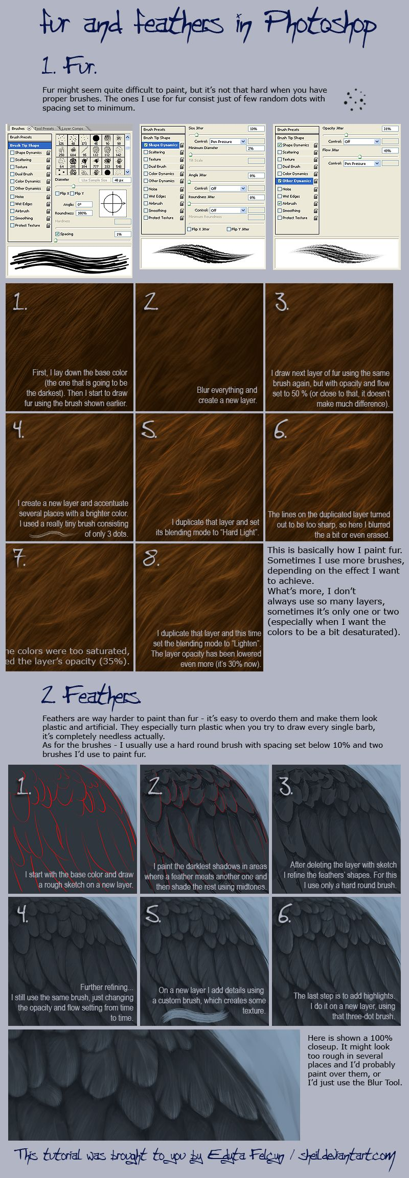 Photoshop Digital Painting Tutorial How To Create Fur And Feathers (best  Fur Tutorial I'