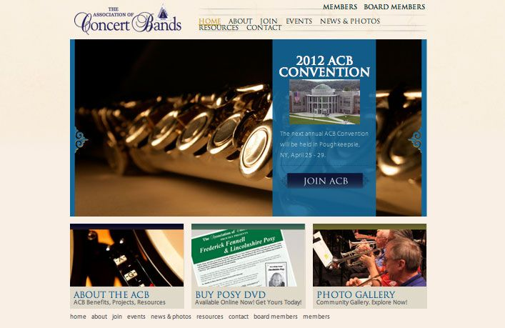 AC BandsWebsite Design,  Designed by Kelli Allard, Coded by Wide Web Marketing, LLC