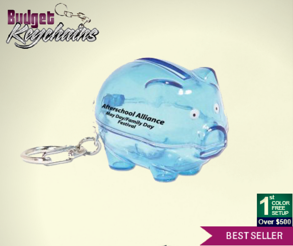 Personalized Piggy Bank Keychains Blue Piggy bank