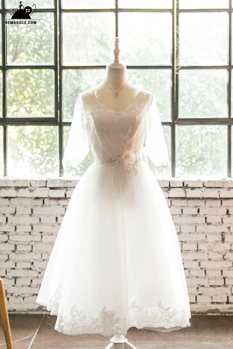 Tea length lace trim wedding dress with lace up sheer sleeves e