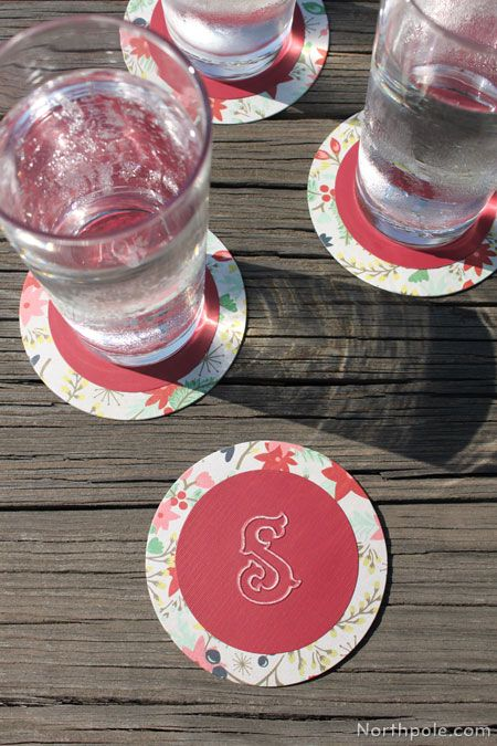 Monogrammed Cocktail Coasters are perfect for upcoming holiday